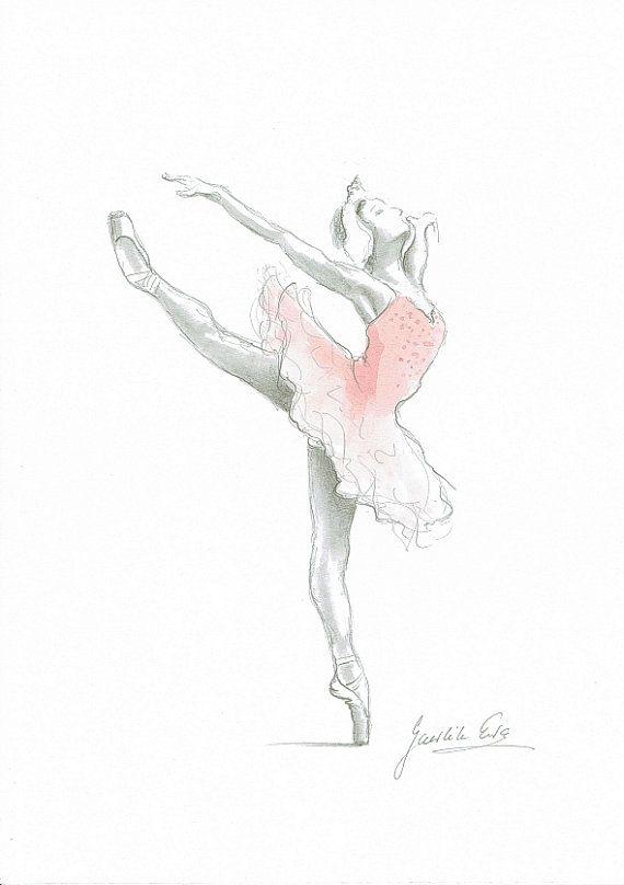 Vier der Reproduktion von meinem original-Illustration. Ich benutze Graphit Bleistift und Aquarell. Wasserzeichen ist nicht auf dem Ausdruck. Gestell und Matte sind nicht enthalten. Jede Arbeit wurde auf der Rückseite signiert. Titel: Ballerina Aufsatz: saure Kostenloses Whitepaper