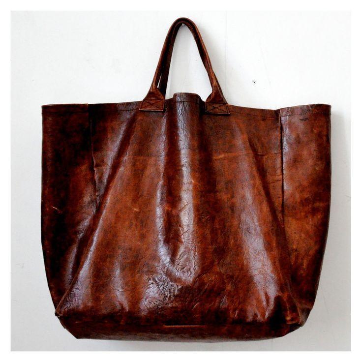 cabas en cuir marron taille 3  - le vestiaire de jeanne