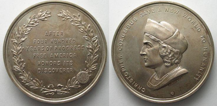 1893 Vereinigte Staaten von Amerika - Medaillen 1893 ANS COLUMBUS QUADRICENTENNIAL MEDAL silver by TIFFANY # 96309 UNC
