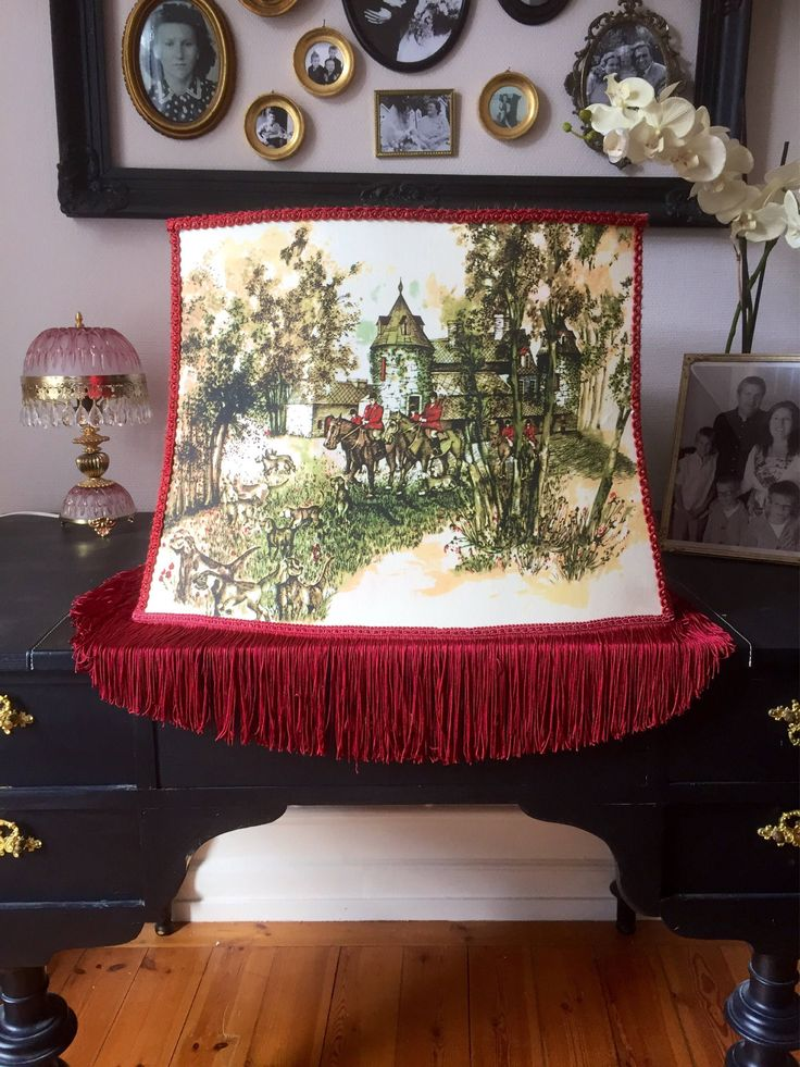 Large/fringe/lamp shade/rich maroon color/silk screened print on both sides by WifinpoofVintage on Etsy