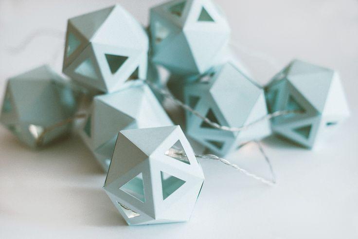 Light blue geometrical light garland made by Edinas paper everydays