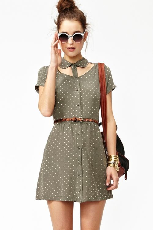 """""""Stellar gray silk dress featuring cutout detailing and an ivory star print.Looks super cute paired with a skinny belt and wedges."""""""