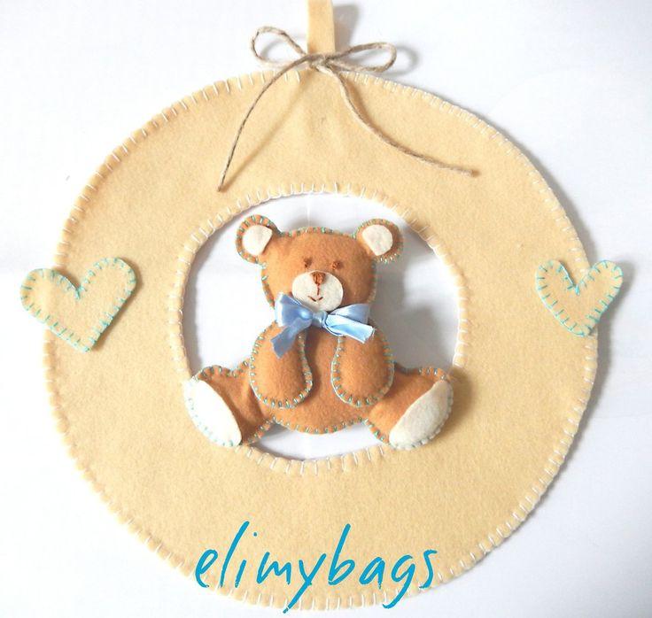 Fiocco nascita azzurro di feltro con orsetto 3d fatto a mano♥, by Elimybags, 33,00 € su misshobby.com