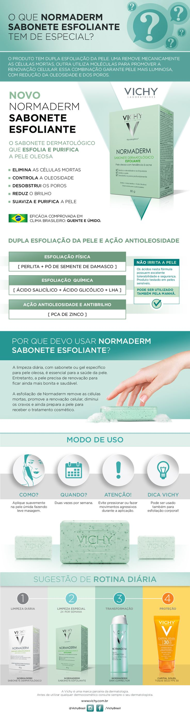 Vichy Normaderm Sabonete Esfoliante é um sabonete em barra dermatológico que esfolia, purifica e suaviza as peles oleosas a acneicas.O produto tem efi