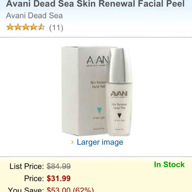 Avani dead sea skin facial peel. Amazing! You won't believe the amount of dead skin you get off your face!!