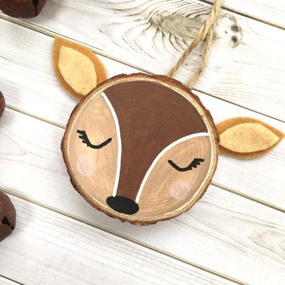 Personalized Woodlands Deer Wood Slice Art …