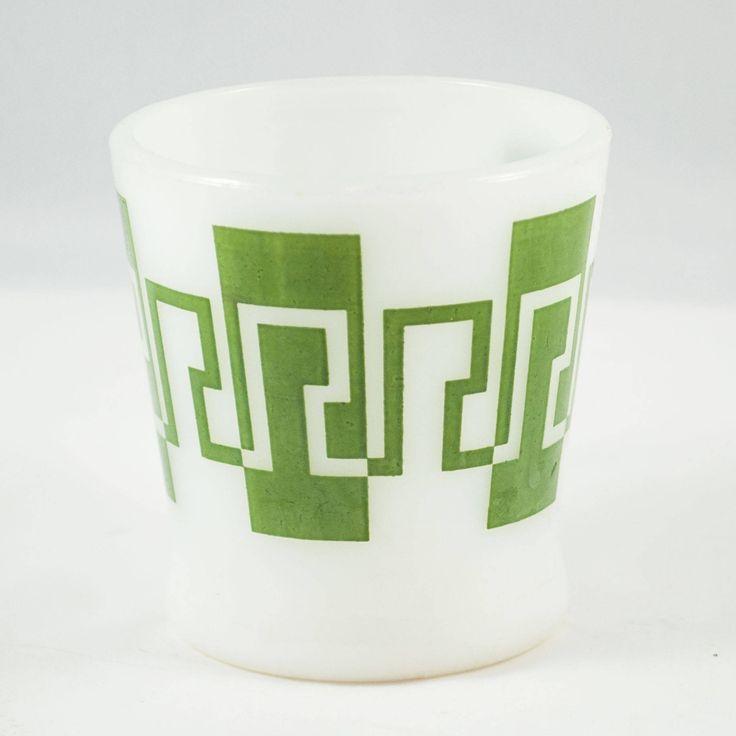 Tasses Fire King-Anchor Hocking vintage blanche avec motif à carreau vert de la boutique 3rvintages sur Etsy