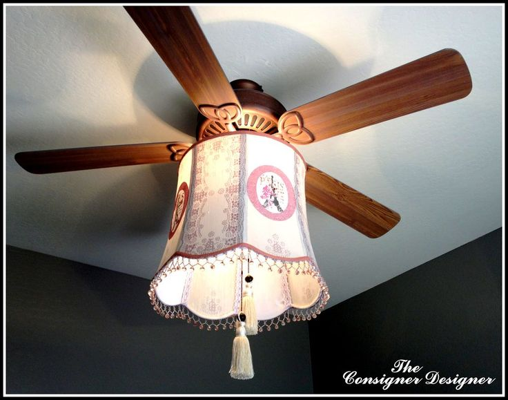 A DIY Project on how to turn an old lamp shade into a fabulous Faux Chandelier for your ceiling fan. The full tutorial can be found at: http://theconsignerdesig…