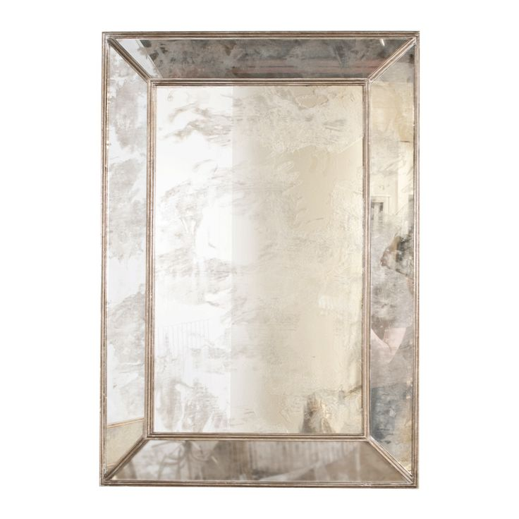 Dion Rectangular Antique Mirror With Champagne Silver Leafed Wood Edges Unique Home Decoraccessories Onlinehome Furnishings