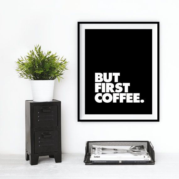 It takes a rare breed of human to resist a jolt of java each day. This coffee typography print from The Motivated Type stylishly captures the