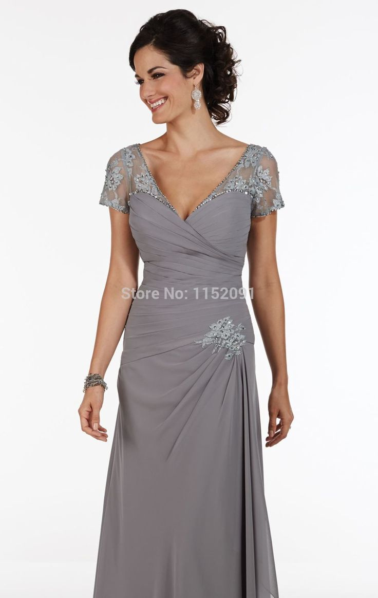 Sexy v neck short cap sleeve long grey color plus size for Summer wedding mother of the bride dresses