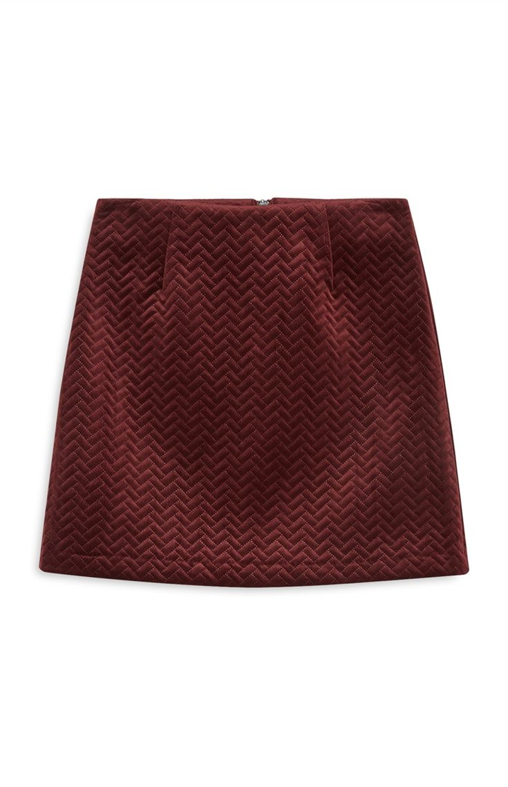 Embossed Velvet Mini Skirt