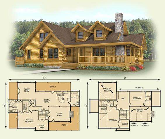 spruce valley log home and log cabin floor plan - Cabin Floor Plans