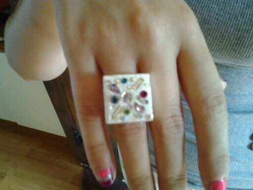Apoxie Sculpt ring incrusted with Swaroski crystal beads. Very shinny!