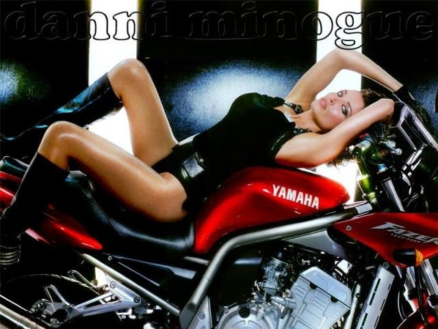Dannii Minogue View with Cool Sport Racing Motorcycle Photo