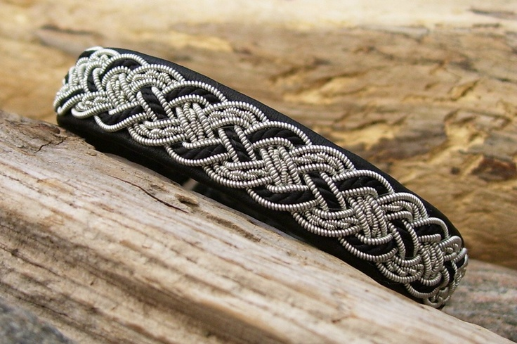 Black Swedish Lapland Bracelet, Reindeer Leather, Pewter and Silk Cord Braid.