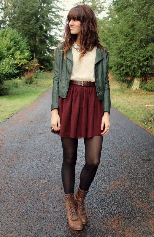Green leather jacket-deep red skirt- tights- boots- great fall outfit- womens casual-fashion