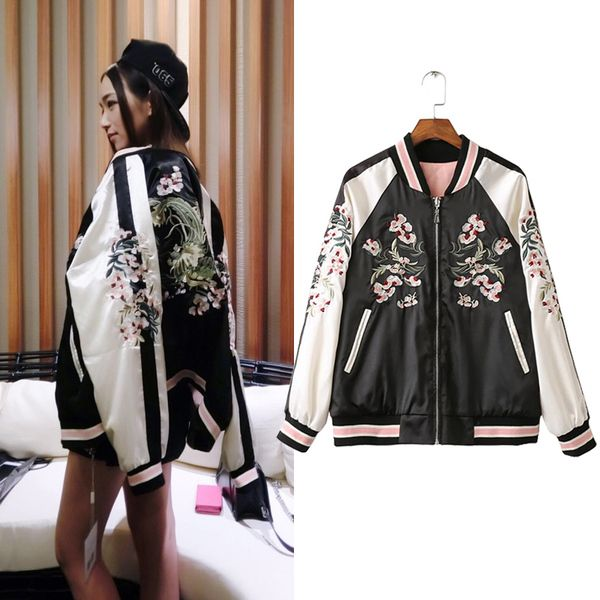 Yokosuka quilted embroidered flowers hit color baseball uniform jacket female bomber jacket coat both sides wear Harajuku