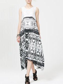 White Polyester Sleeveless Crew Neck #Maxi #Dress