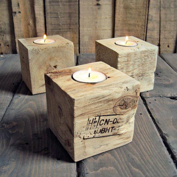 Reclaimed Industrial Wood Tea Light Holder - Set Of Three. £15,00, via Etsy. Cool. Got plenty of these blocks!