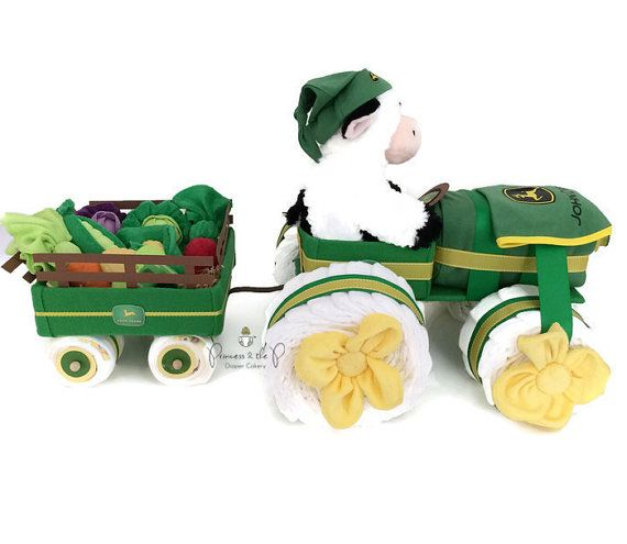 The ULTIMATE Baby Gift for mom to be! I originally made this johndeere diaper tractor sa a custom order for a special client in honor of her