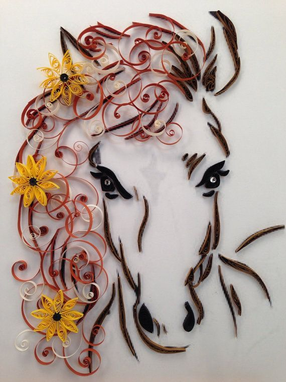Paper Quilling, Horse and Flowers, Framed Art, 11x14