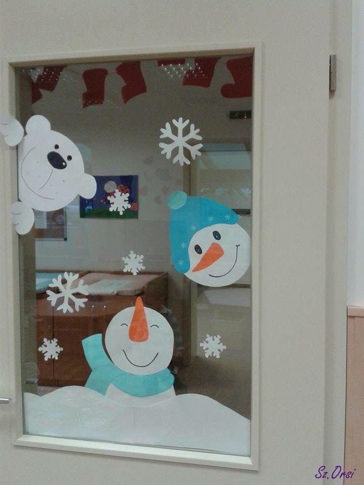 Fensterbild Winter Schneemann