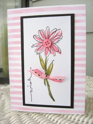 handmade card ... lovely flower ... like how just a few strokes with a marker fills the lines enough to give a casual sketched look ... striped pink and white base frames the focal point ... delightful! ...