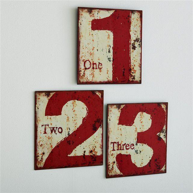 Style industriel et effet vieilli, les 3 plaques en métal avec chiffre 1, 2 et 3 Adid impose une déco de caractère.   Description des 3 plaques chiffre Adid :2 platines pour la fixation murale. Caractéristiques des 3 plaques chiffre Adid :En métal effet vieilliRetrouvez d'autres plaques de la collection Adid sur laredoute.fr.Dimensions des 3 plaques chiffre Adid :Totales d'une plaque : Longueur : 30 cmHauteur : 30 cmProfondeur : 0,5 cm