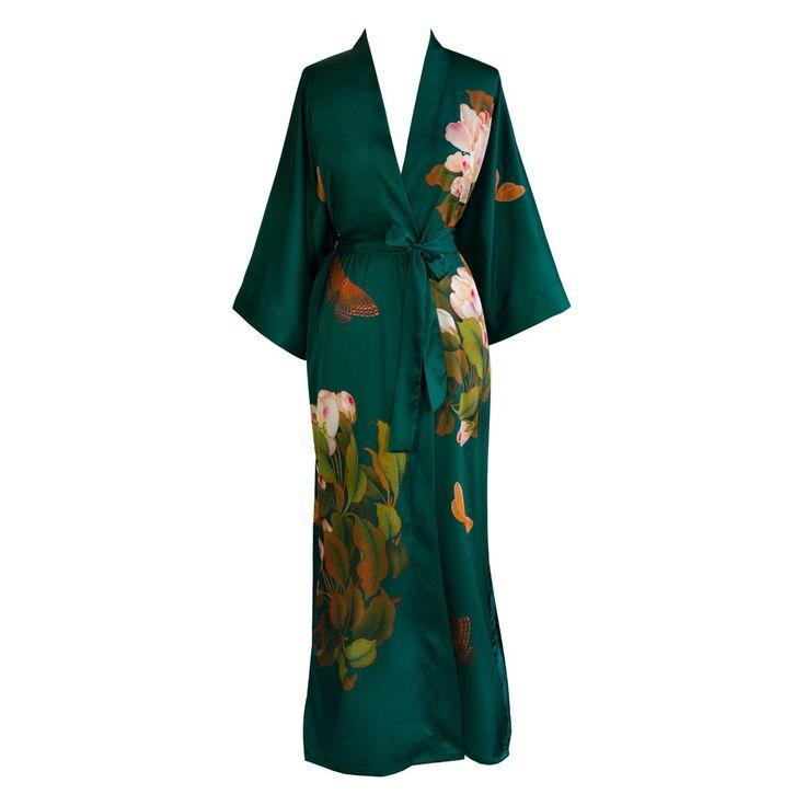 Print Kimono Long Robe - Peony and Butterfly (emerald)