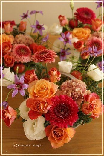【今日の贈花】同窓会のお花たち♪ Flower note の 花日記 (横浜・上大岡 アレンジメント教室)