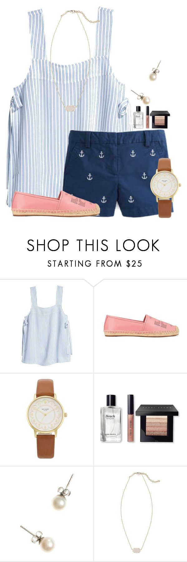 """""""Lots of people looking at our house today"""" by flroasburn ❤ liked on Polyvore featuring Vineyard Vines, Tory Burch, Kate Spade, Bobbi Brown Cosmetics, J.Crew and Kendra Scott"""