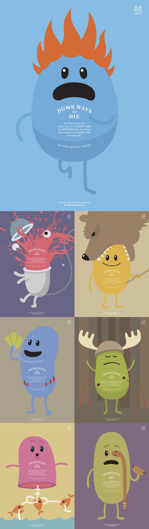Dumb ways to die illustrations