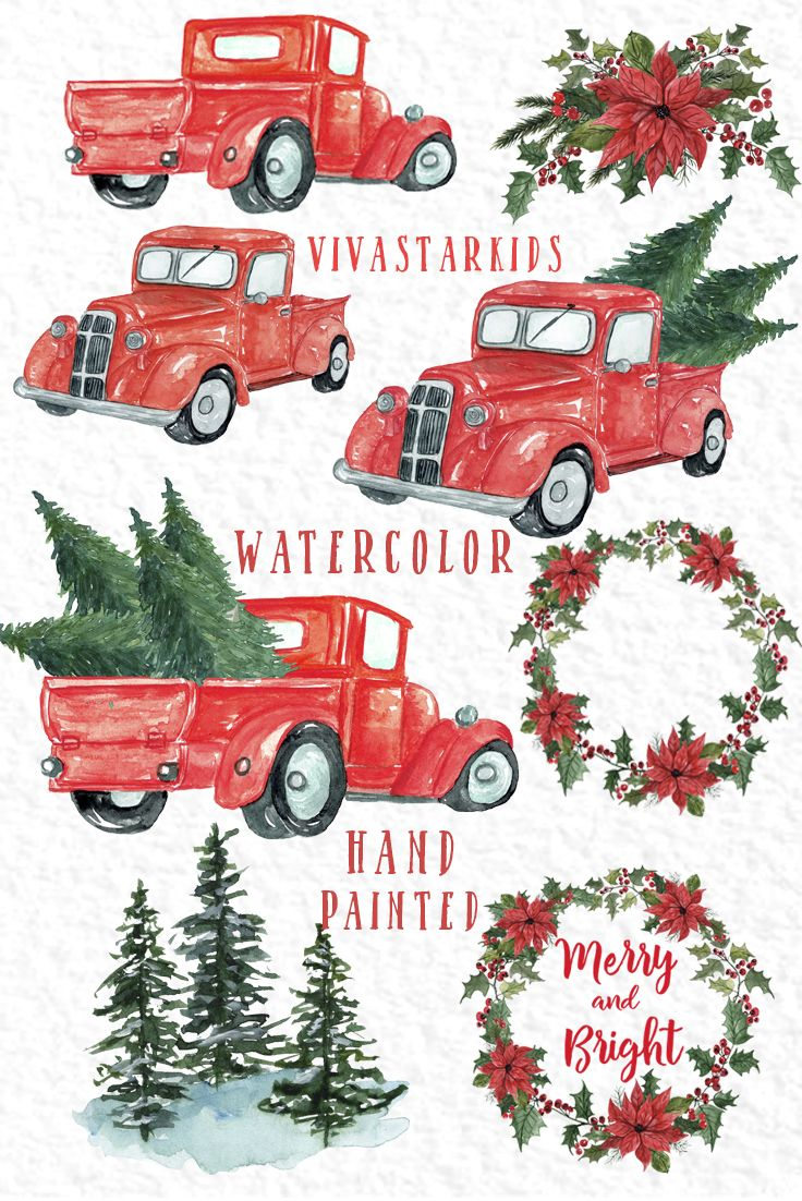 Christmas Truck Clipart Christmas Trees Etsy Christmas Truck Christmas Watercolor Christmas Tree Clipart