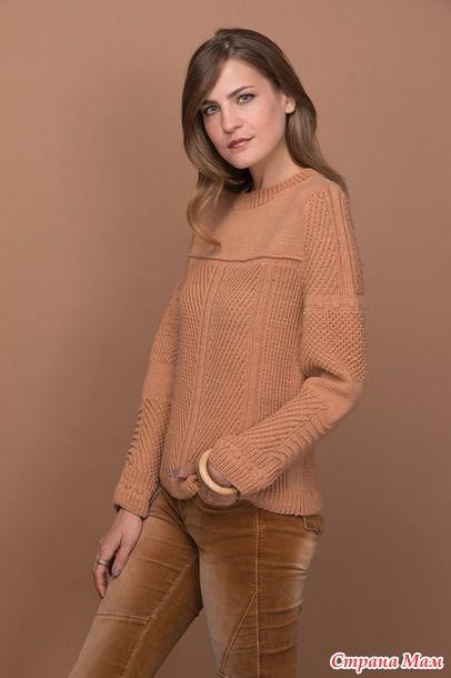. Пуловер рельефным узором