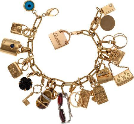 18k Yellow Gold Charm Bracelet with Hermès, Chanel, Louis Vuitton, Cartier & Tiffany charms
