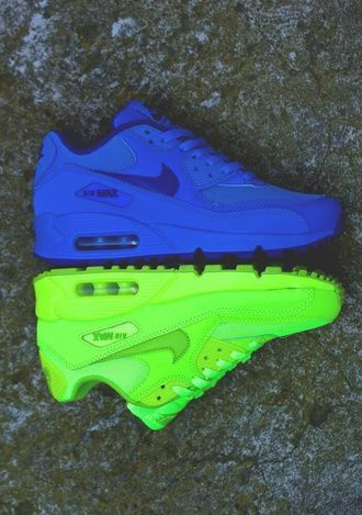 factory price 36d3c 707ba shoes nike air max 90 air max highlighter yellow nike air force yellow  perfect swag blue shoes nike air nikes nike air max neon neon green air max  90 neon ...