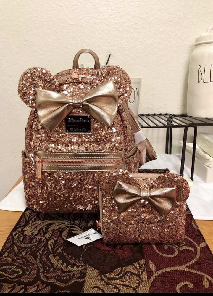 Disney Parks Minnie Mouse Rose Gold Loungefly Backpack AND Wallet - New!  SOLDOUT  fashion  clothing  shoes  accessories  womensbagshandbags (ebay  link) ff4524a771