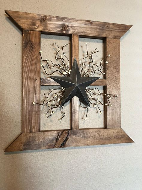Rustic primitive wood window frame Farmhouse wall decor Primitive star Large wall decor with star and pip garland
