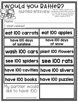 100th Day of School Games Activities Kindergarten Writing Reading Math Science Fun Puzzle Rewards