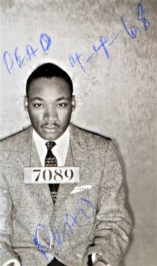 A Montgomery (Ala.) Sheriff's Department booking photo of The Rev. Martin Luther King Jr. taken Feb 22, 1956