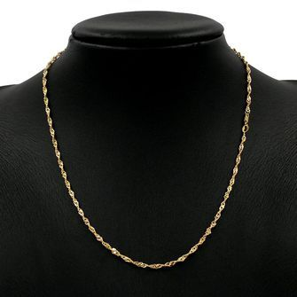50cm Yellow Gold Singapore Rope Chain Necklace - GN-SN40