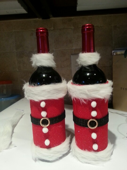 Christmas santa wine bottle craft
