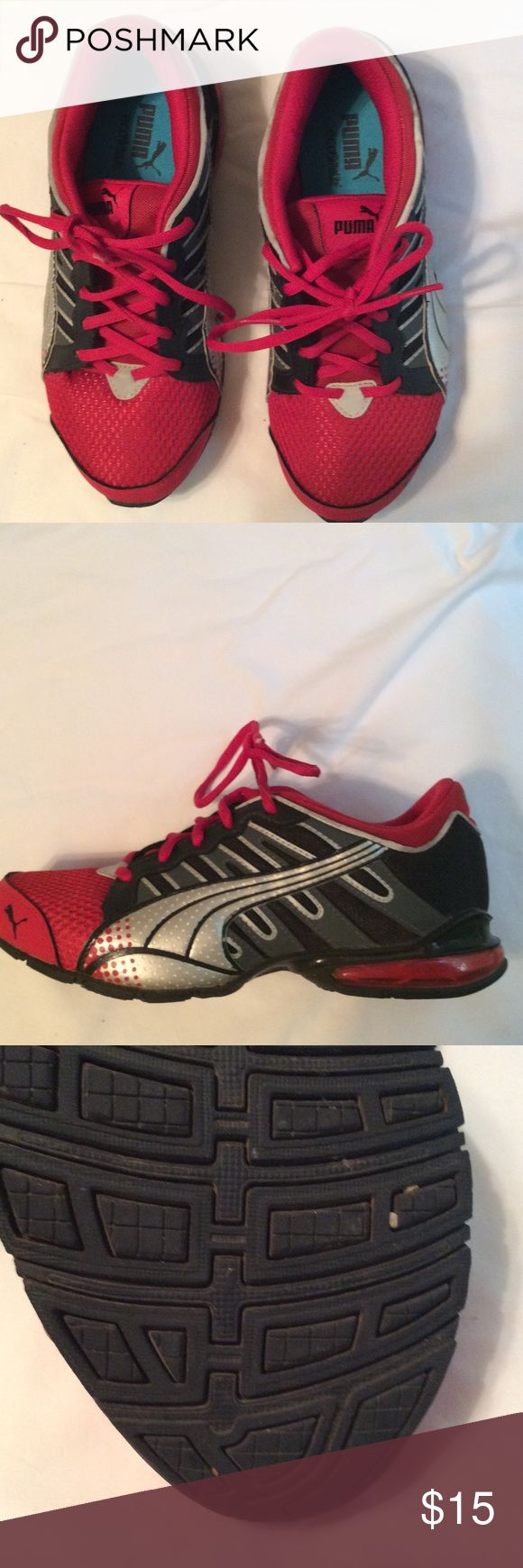 Tennis shoe Worn twice. Red, gray, black, silver Puma Shoes Athletic Shoes