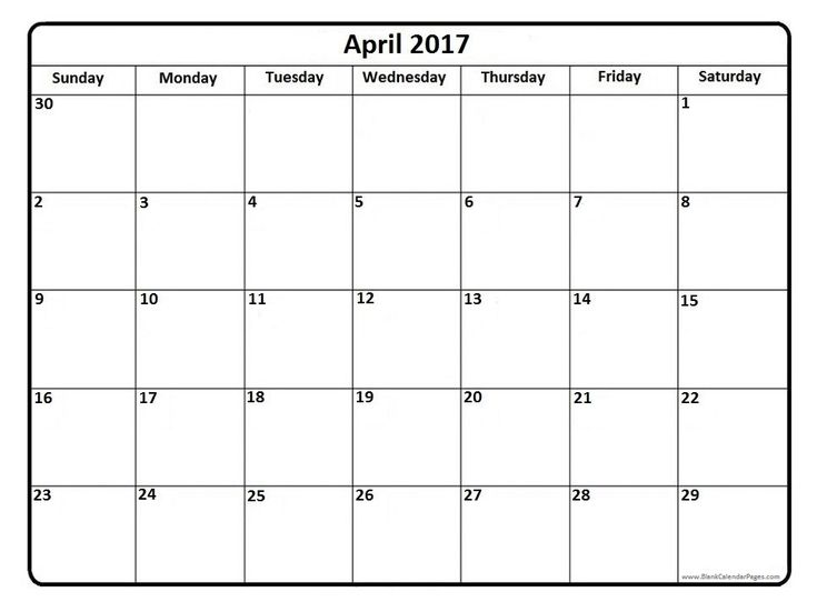 Blank April Calendar Printable LargeAprilPrintable Coloring