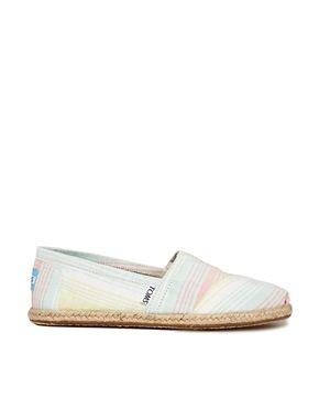 Toms Lime Summer Stripes Flat Shoes