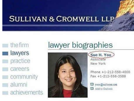Sue Yoo, who works as a lawyer: