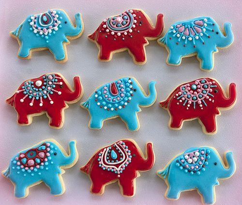Elephants red & blue