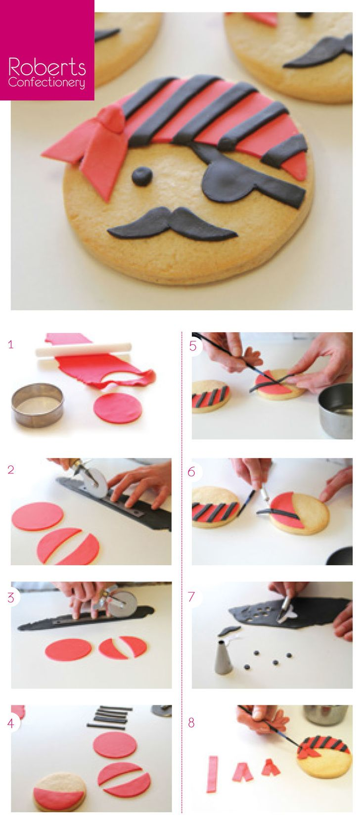 Pirate Cookie using Satin Ice Fondant @satinfinefoods #pirate #cookie