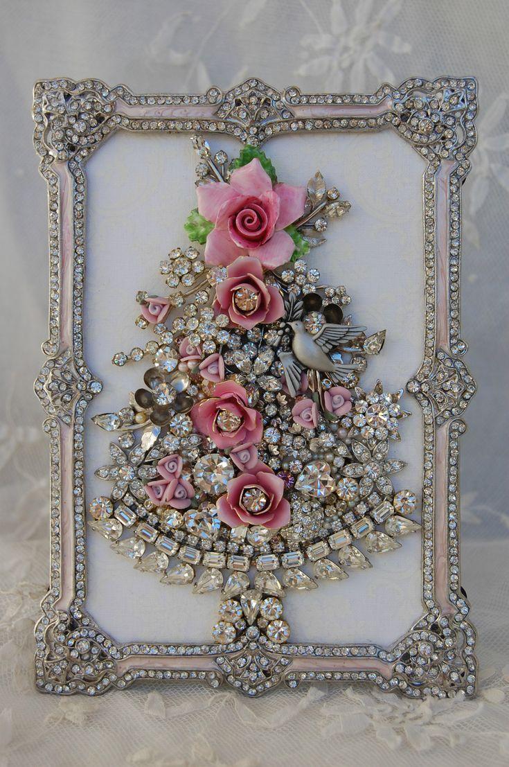 Vintage Jewelry Framed Christmas Tree ♥ Pink Roses Clear Rhinestones Dove | eBay